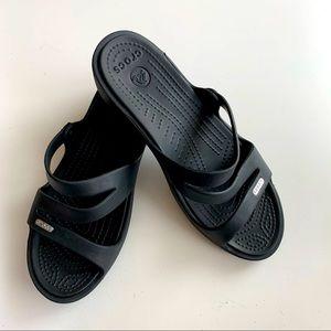 Croc's Wedge Sandal Black Strap Comfortable